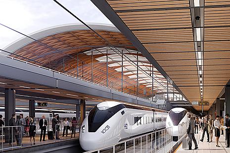 CGI showing trains arriving onto platform