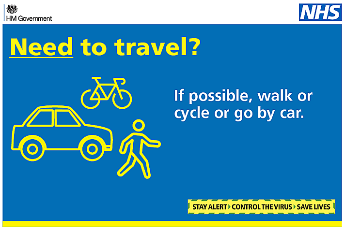 Need to travel? If possible, walk or cycle or go by car.