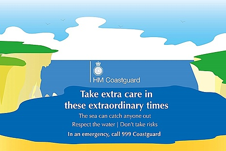 Logo HM Coastguard and phrase take extra care in these extraordinary times