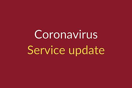 Coronavirus service update