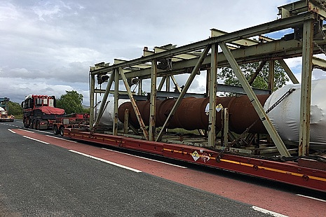 Metal ducts being transported