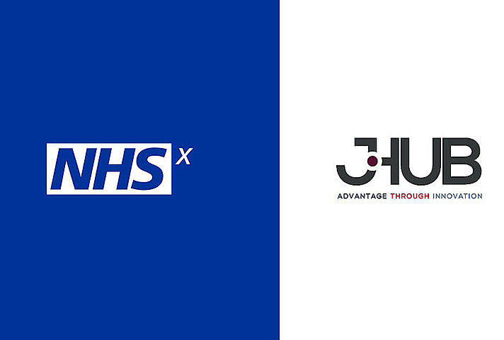 Logo for j-Hub Defence Innovation on the right and NHSx. on the left. MOD Crown Copyright 2020.
