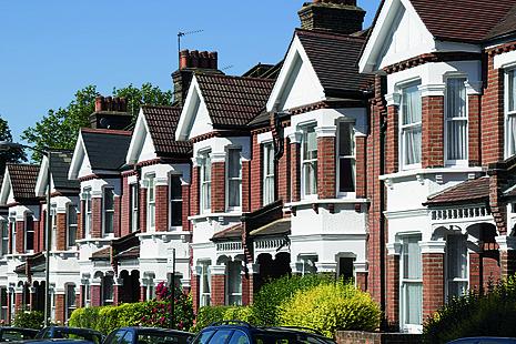 Row of suburban houses.