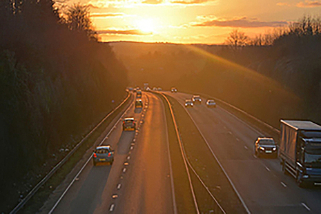 Sunset over the motorway