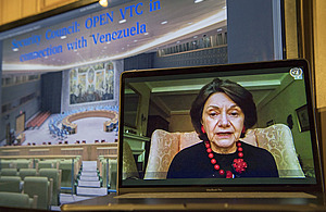 Rosemary DiCarlo, Under-Secretary-General for Political Affairs, briefs the open video conference with Security Council members in connection with Venezuela. (UN Photo)