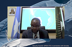 Francisco Caetano José Madeira, Special Representative of the Chairperson of the African Union Commission for Somalia and Head of AMISOM, addresses the open video conference with Security Council members in connection with Somalia. (UN Photo)