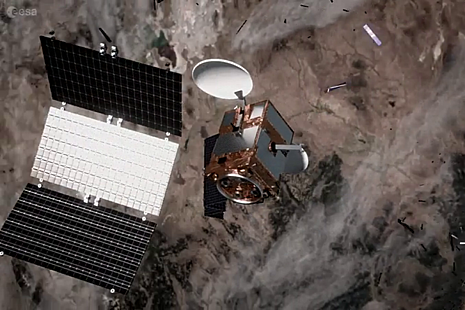 Artist impression of space debris from satellite