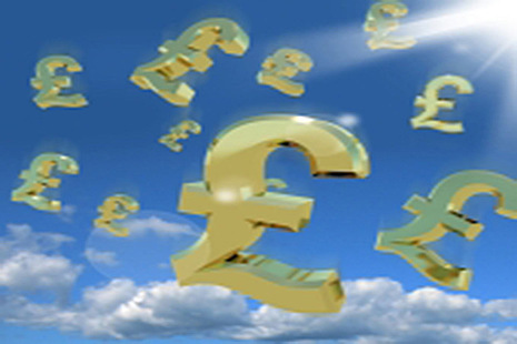 Pounds signs in the sky as a sign of money