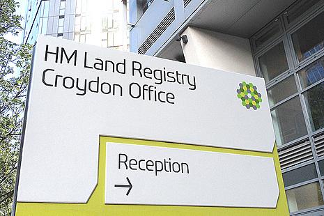 HM Land Registry Croydon Office sign.