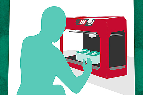 illustration of someone using a 3D printer