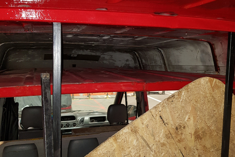 The hiding space in the minibus, once the 2 Albanian men had been removed