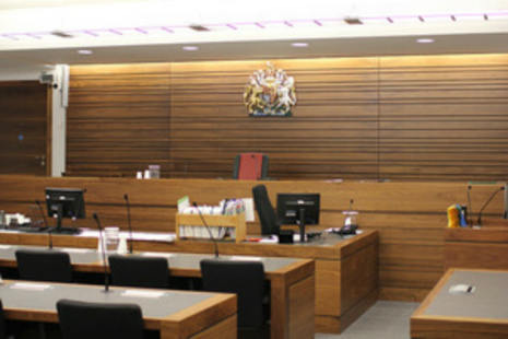 Photograph of inside a courtroom