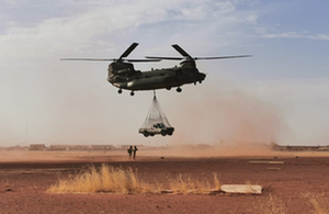 RAF Chinooks in Mali provide a logistical support role to French ground troops