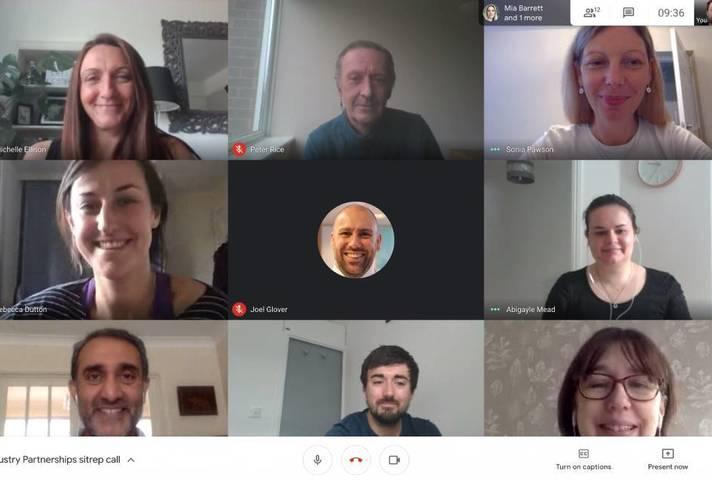 Members of the team behind the Industry Partnering Volunteer Scheme on a video hangout meeting