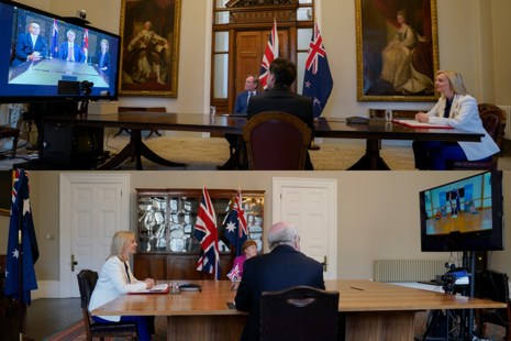 Secretary of State Liz Truss and UK representatives speaking to Australia and New Zealand representatives