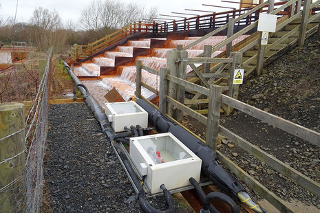 The cascade at the Coal Authority's Frances mine water treatment scheme