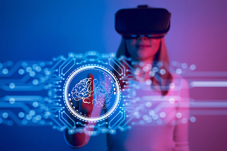 Woman using virtual reality technology