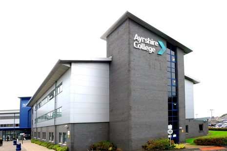 Outside of the building of North Ayshire College