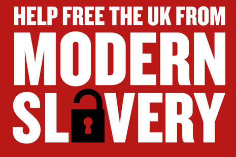 Image with text reading: help free the UK from modern slavery