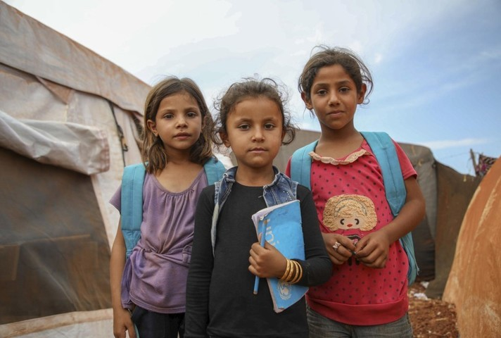 Children displaced by conflict in Idlib, Syria.