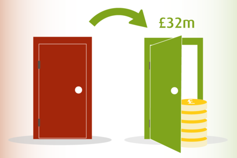 A closed red door and an open green door with a stack of money.