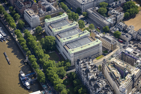 Aerial image of the MOD main building