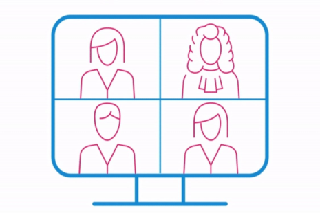 Animated images of computer with four faces on screen
