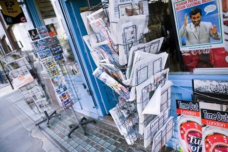 Newsagents shop front