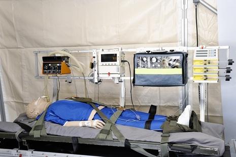 First Aid Training Dummy lying in Hospital tent