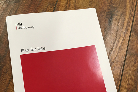 A picture of the red 'A Plan for Jobs' document.