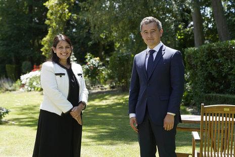 Priti Patel and French Interior Minister Gérald Darmanin.