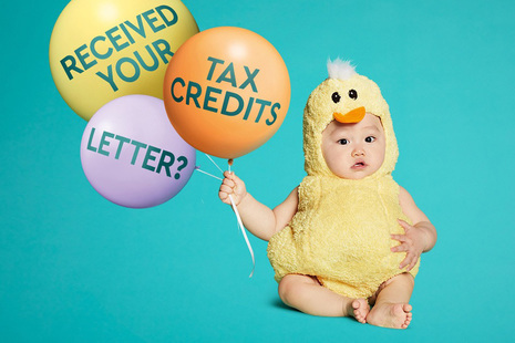 "Image of child holding some balloons that display the words ""Received your tax credits letter?"""