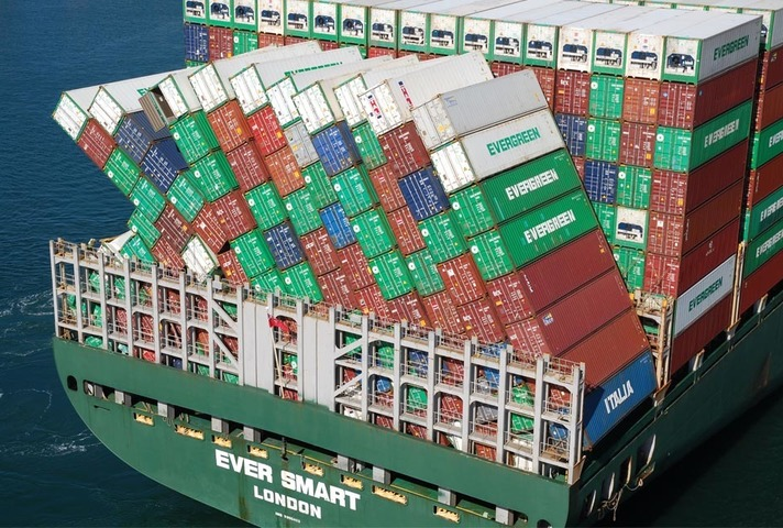 Collapsed containers on board Ever Smart