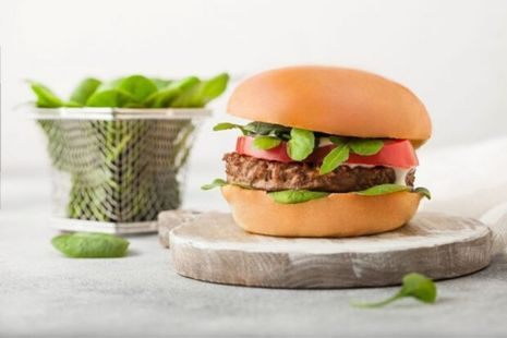 Vegan burger with a side salad.