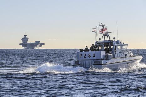 Two Royal Navy ships at sea