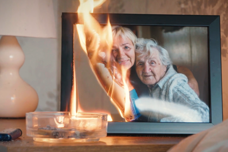 Picture frame on fire