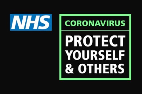 NHS logo with the text: Coronavirus. Protect yourself and others.