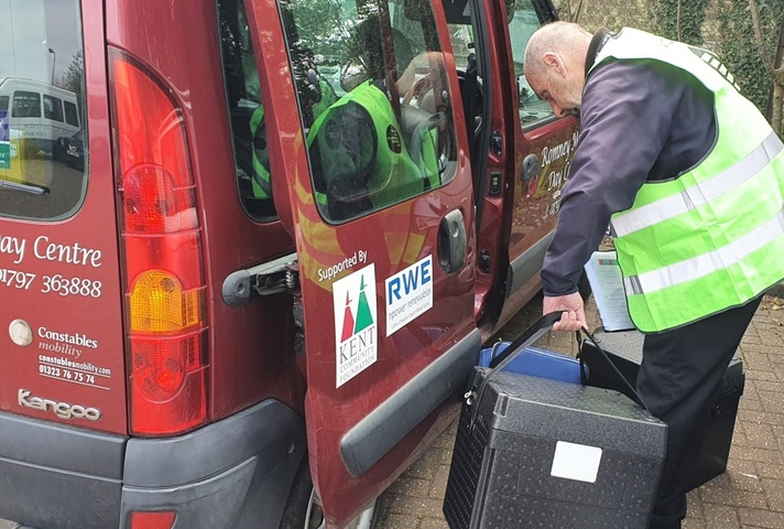A hot meal delivery takes place in Romney Marsh