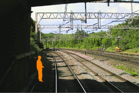 Forward facing CCTV image showing position of track worker within an area of limited clearance (courtesy of Avanti West Coast)