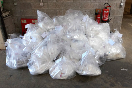 An estimated 250kg of cocaine and 169kg of amphetamine was discovered
