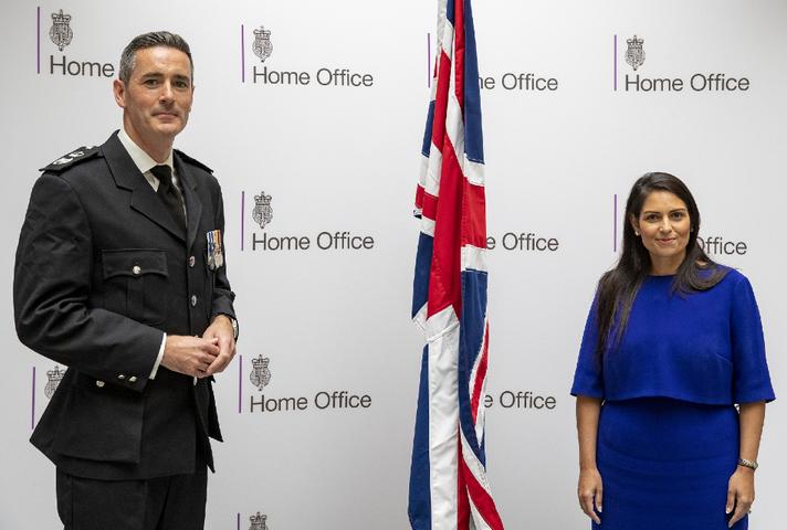 Home Secretary Priti Patel and Dan O'Mahoney, Clandestine Channel Threat Commander