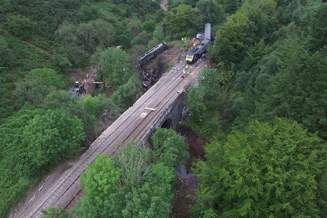 Aerial photograph of derailment site