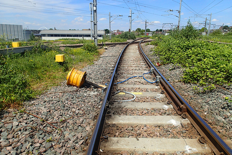 Photograph showing the derailment marks on the approach to Willesden High Level Junction (after track restoration)