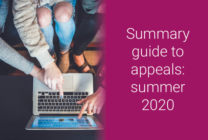 Summary guide to appeals: summer 2020