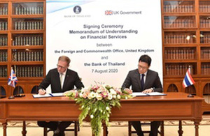 The UK and the Bank of Thailand sign MoU on Financial Services