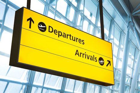 Departures and arrivals sign