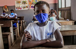 A child wearing a face mask to protect against coronavirus in the Democratic Republic of the Congo. Picture: UNICEF