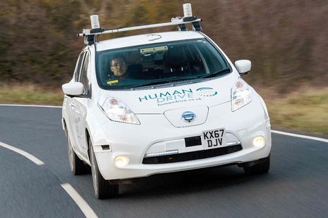 An autonomous vehicle on the road