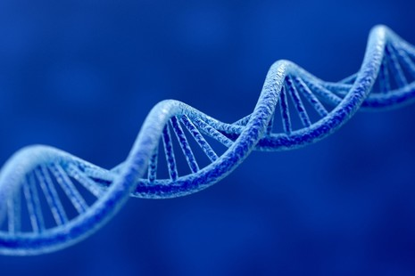 DNA helix in blue. iStock