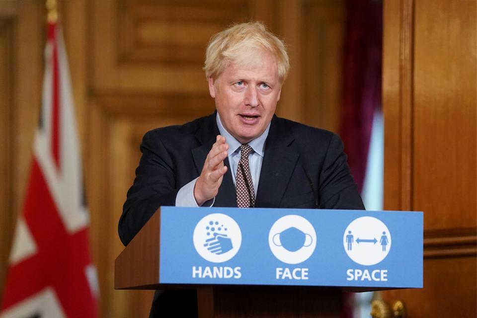 PM Boris Johnson makes a statement at the coronavirus press conference